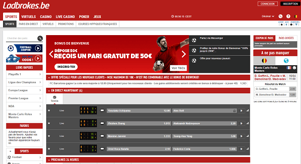 Bookmaker Ladbrokes Belgique Screenshot