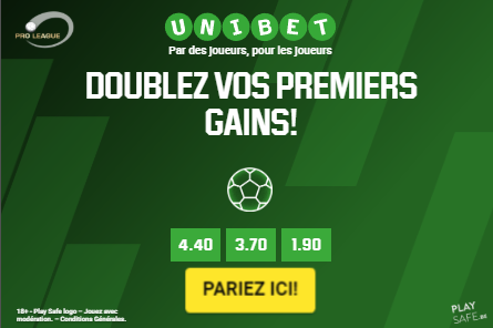 Bookmaker Unibet: Doublez vos premiers gains en Cash Screenshot
