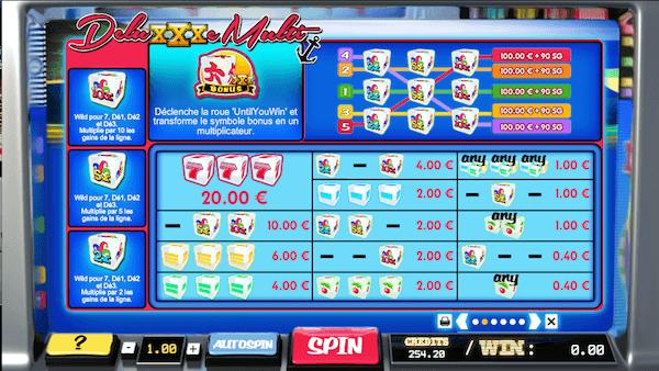 Paytable de la dice slot deluxxxe multi